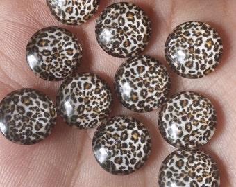 Tan and Black Leopard - Cheetah - Animal Print Glass 12mm Cabochons - 10pcs