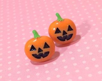 Pumpkin Stud Earrings, Halloween Earrings, Orange and Black Pumpkin Earring, Whimsical Smiling Halloween Carved Pumpkin Stud, Surgical Steel