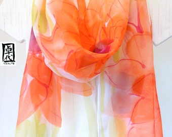 Silk Scarf Handpainted, Gift for her, Spring Scarf, Orange Scarf, Silk Chiffon Scarf, Garbera Daisies Scarf, 14x72 inches, Made to order.