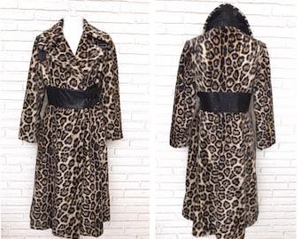 Vintage Leopard Print Women's Coat Winter Princess Frock Swing Coat Faux Fur 1970's Style S/M