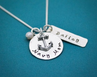 Navy Mom Necklace in Sterling Silver with Anchor Charm, Name and Birthstone Customized Hand Stamped Jewelry-