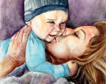 Mother's Day Watercolor Portraits - an original watercolor painting by Jodi J. Callahan