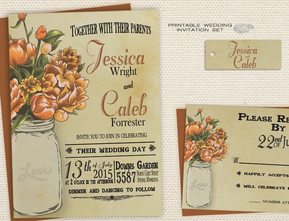 Homemade Fall Wedding Invitations: Mason Jar Wedding Invitations Fall Wedding Invitations DIY