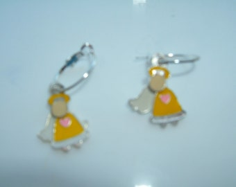 Yellow Dangle Angel Earrings
