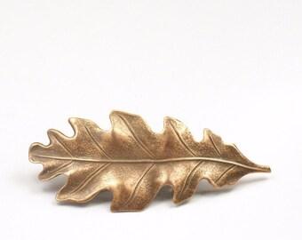 Oak leaf barrette hair clip antique style Victorian autumn hair accessory fall Thanksgiving
