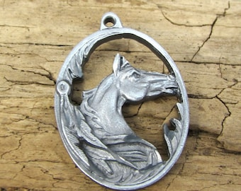 Horse Charm, 25x20mm Oval Single-Sided Horse Head Charm, Horse Pendant, Jewelry Supplies, Made in the USA, Item 171p