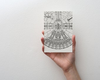 Set of 5 Star Wars Postcards - 4x6 - A6 - Sketch - Black and White - Millennium Falcon - Princess Leia - Han Solo - Chewbacca - Buddha