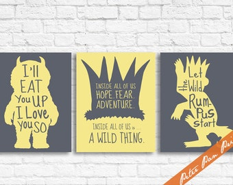 Where the Wild Things Are - Set of 3 Art Print (Unframed) (featured in Lemon on River Rock) Peter Pan Prints
