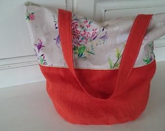 linen tote bag beach bag, orange