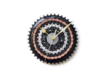 Black Modern Wall Clock, Industrial Wall Clock, Large Wall Clock, Steampunk Wall Clock, Bicycle Wall Clock, Bike Wall Clock, Big Wall Clock
