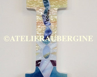 Letter I # 8 , typography with stained glass mosaic