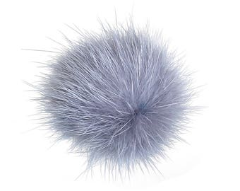Grey faux fur ball, 30mm
