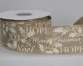 """10 yards Merry Christmas Script Rustic Linen Wire Edge Ribbon - Ribbon for Wreaths, Gift Wrap Ribbon, Christmas Ribbon, 2.5"""" wide ribbon"""