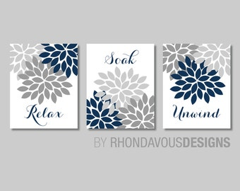 Floral Relax Soak Unwind Print Trio. Bathroom Home Decor Wall.  Bathroom Art. Flower Bathroom. Navy Blue Bath Art. Flower Bath Art. NS-804