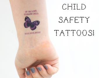 Safety Tattoos, Kids Tattoo, Child Tattoo, Child Safety, Child Identification, Butterfly Tattoo, Travel Tattoo, Contact information Tattoo