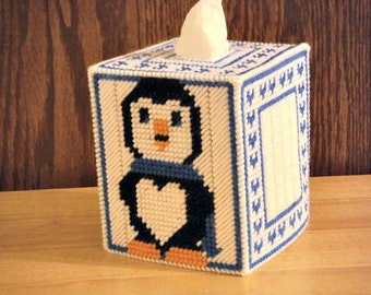Easter Gift, Penguin Gift, Plastic Canvas Tissue Box Cover, Kids Room Decor, Nursery Decor, Baby Shower, Gift for Her, Easter Kids Gifts