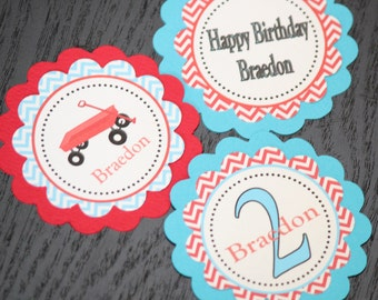 Red Wagon birthday CUPCAKE TOPPERS