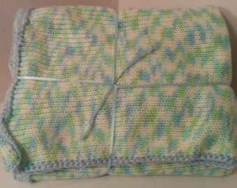 Knit & crochet colors marbled (boy) baby blanket