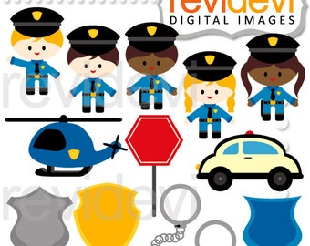 Police clipart commercial use / Police Officer Clip art / Policeman, car, helicopter, kids in costumes. community service, community helper