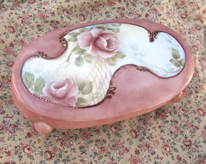 Hand Painted Rose Trinket Dish, Vintage Oval Handcrafted Porcelain, 1980's Victorian Style, Shabby Cottage Style, Dusty Pink