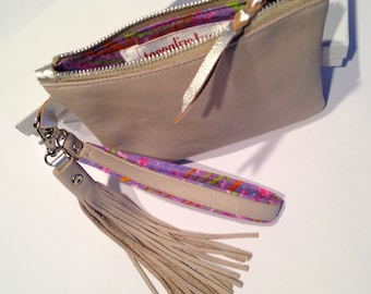 Pale Putty Leather Zip Purse- Wristlet- Bag