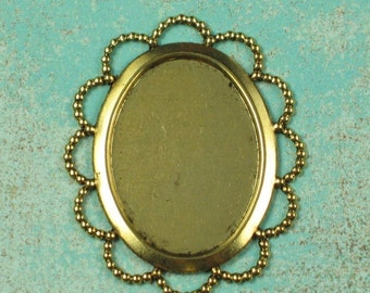 6 Antique Gold Brass Cameo Setting Supplies Finding 647