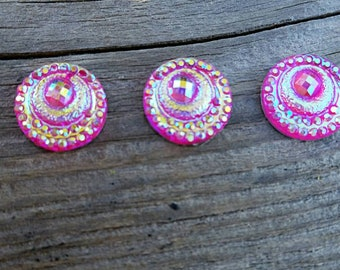 12mm Dk. Pink Ab Resin Cabochon