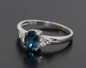Topaz ring, Blue topaz ring, Oval cut ring, Women ring silver, Silver ring for her, Elegant ring silver, London blue topaz ring