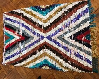 Vintage Geometric Moroccan Berber Boucherouite Rag Rug