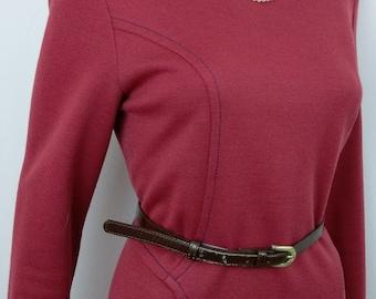1960's 70's Riddella Mod Dress. Size 14. Long sleeved. At the knee. British Vintage