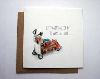 "Harry Potter inspired ""Just waiting for my Hogwarts letter"" card  watercolour greetings card  5 ofr 4 on all cards: XMASPRESENT"