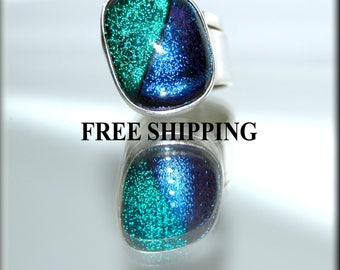 Vintage Dichroic Glass in Sterling Silver ADJUSTABLE size Ring made in Mexico