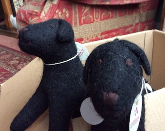 Cute Felt Black Labrador - Hand made.