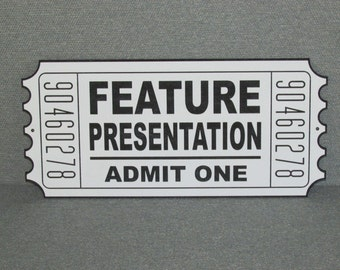 Large Movie Theater Ticket Feature Presentation Vintage Style Wood Sign