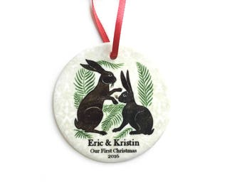 Our First Christmas Ornament - Woodland Rabbits - Personalized Newly Married Couple Ornament - Unique Bridal Shower, Wedding Gift