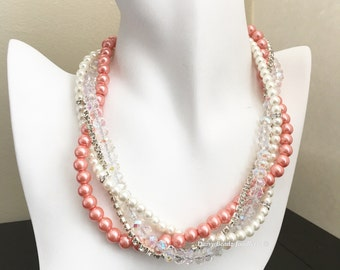 Coral Necklace Chunky Necklace Bridesmaid Necklace Coral Pearl Necklace Coral Wedding Bridesmaid Wedding Jewelry Gift Idea mother of Bride