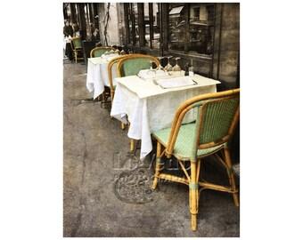 Paris Bistro, Bistro Photograph, Sidewalk Café, Rattan Chairs, Paris Photography, Shabby Chic, French Bistro, Travel Photography