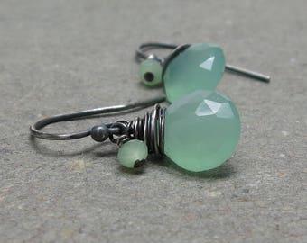 Light Green Chalcedony Earrings Oxidized Sterling Silver Petite Minimalist Mint Green
