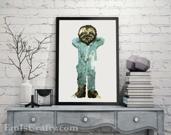 Sloth Print (no frame) Painting, Baby Sloth wall decor, Jammies Pajamas, Baby Animal Print, Nursery Art, Baby Boy Art, Kid Art, College Gift