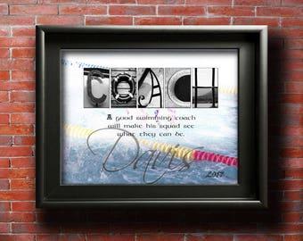 Swim Coach Gift, Swimming Coach, Personalized Swim Coach, PRINTABLE Coach Appreciation, Swimming Club, Swim Coach Retirement Gift DIGITAL