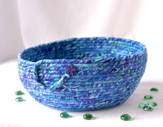 Batik Fabric Basket, Modern Remote Control Holder, Handmade Purple Gift Basket, Lovely Decorative Bowl, Soft Fabric Pottery