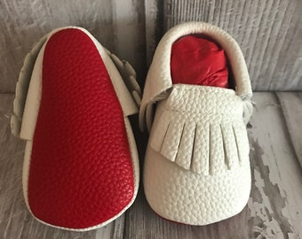 White Red Sole Baby, Red Bottom Moccasin Baby Boy Pram Shoes- Like Mummy's Louboutins but Designer Inspired! Louboutin Baby!