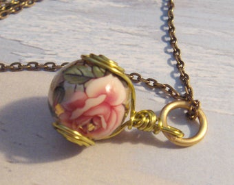 """My#151T - A Rose/Silver Pearl Japanese Tensha Bead Pendant! w/Peridot Spiral Wraps/AntiqueGold chain 24""""..Bead Size: 14mm"""