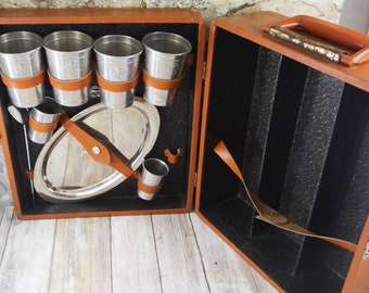 Vintage Travel Bar Set by Ever Ware from the 1950s, The Original Trav-L Bar