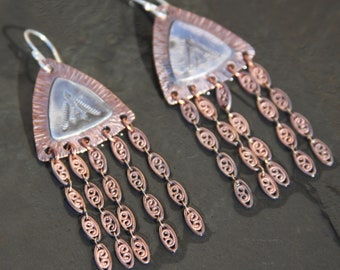 stamped sterling silver and copper earrings