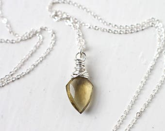 Olive Quartz Pendant on Sterling Silver Necklace - Pointed Arrowhead Shaped Pendant
