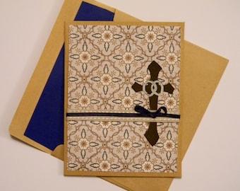 Wedding Card, Handmade, Christian//organza overlay//cross with wedding bands//blue satin ribbon//bridal shower//bride-to-be//anniversary