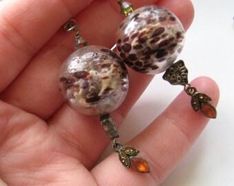 Purple drop earrings | blown glass | lavender buds | dangle | terrarium | final sale