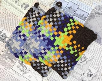 Cotton Potholders - David's Potholders - Woven Potholders - Deep Dark Multicolor Potholders - Urban Chic Potholders -   - Set of 2