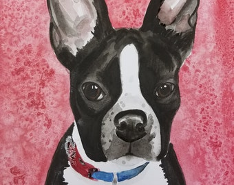 Mounted watercolor, custom pet painting, pet portrait, painting of pets, gift for dog person, pets